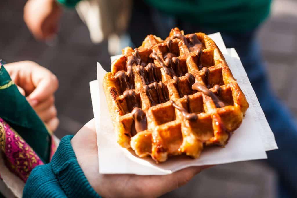 Belgische wafel met chocolade