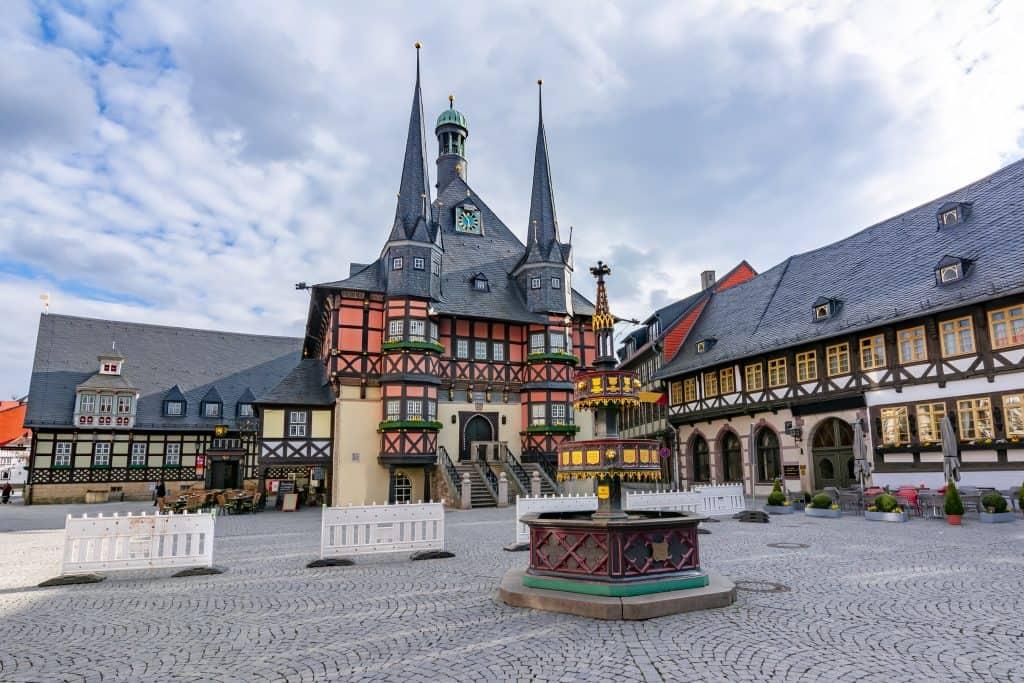 Centrum van Wernigerode in Saksen-Anhalt, Duitsland