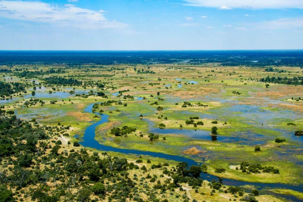 De Okavango Delta vanuit de lucht