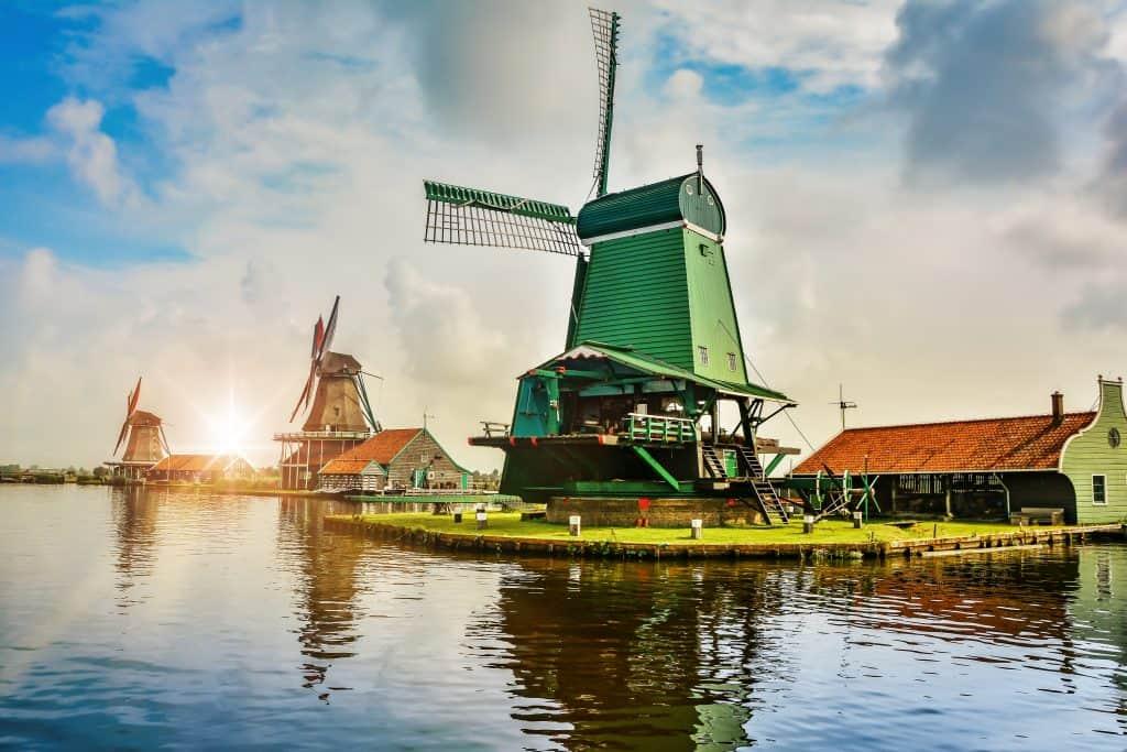 Molens van de Zaanse Schans in Noord-Holland