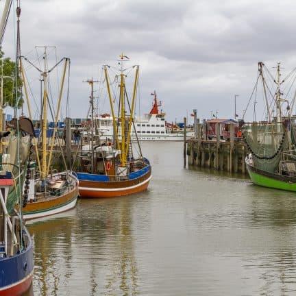 Vissersboten en veerboot in de haven van Neuharlingersiel, Duitsland