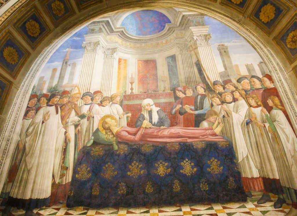 Fresco van Santa Fina in de kapel