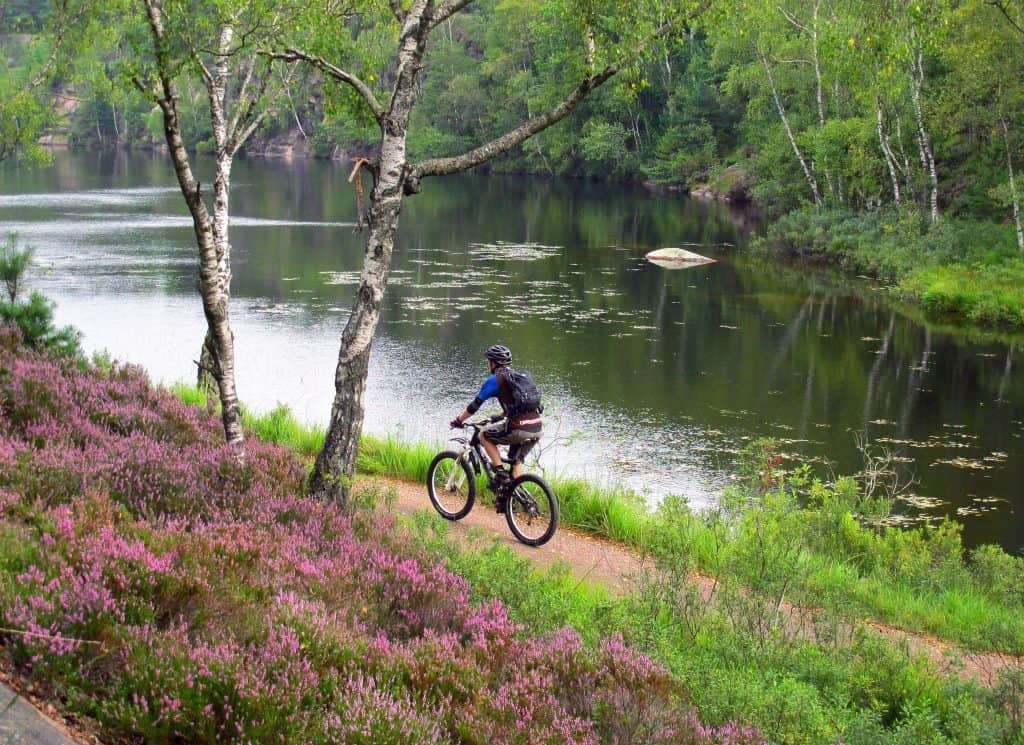 Mountainbiker fietst langs een waterplas