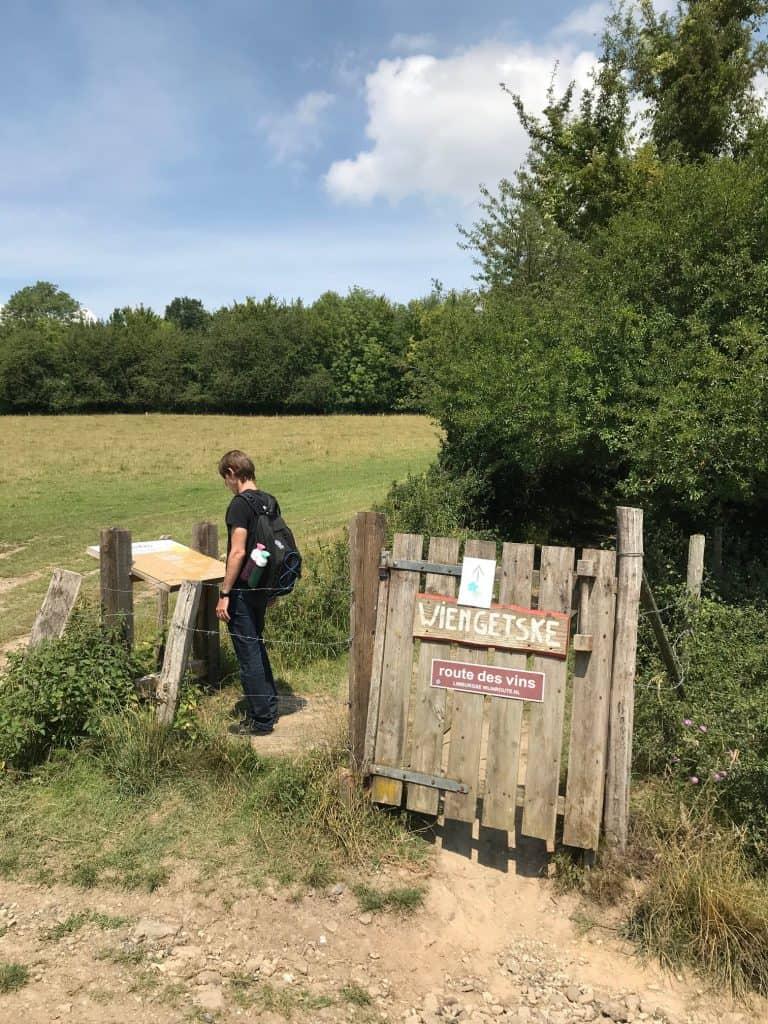 Toegangshek van Route des Vins in Limburg