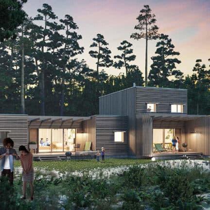 Houten cottages van Center Parcs Les Landes de Gascogne